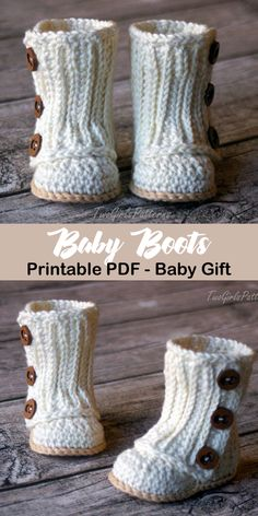 Cute Baby Boots Make an adorable pair of baby boots! baby shoes crochet patterns - baby booties - baby gift - crochet pattern pdf - Make an adorable pair of baby boots! Baby Boots Pattern, Crochet Boots Pattern, Crochet Baby Boots, Booties Crochet, Crochet Baby Clothes, Crochet Slippers, Knit Baby Shoes, Knitted Baby, Knit Baby Booties