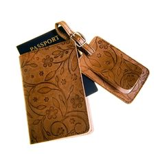 Genuine Leather Travel Set (Passport Cover + Luggage Tag)