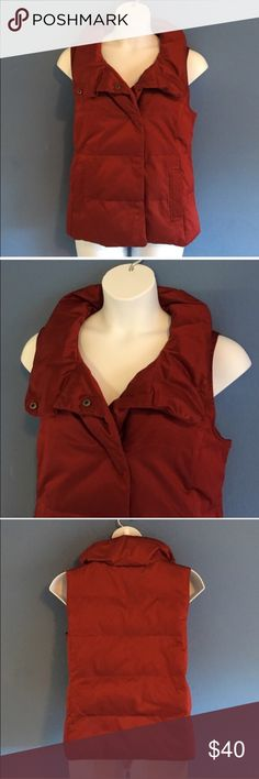 """J. Jill Deep Red Vest Wow!  This vest is beautiful!   The deep red color is simply amazing.  Snap front enclosure. Two front pockets.  Pair with jeans/leggings and boots. Material:  54% Polyester/46% Cotton. Measurements:  Length - 25.5""""/Bust - 23""""/Waist - 23"""" J. Jill Jackets & Coats Vests"""