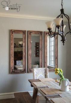DIY Rustic Wall Mirrors made from cheap plastic framed full length mirrors from Walmart, Target, ect - Decoration Ideas Dining Room Wall Decor, Living Room Mirrors, Mirror Bedroom, Bedroom Decor, Dining Rooms, Decor Room, Kitchen Mirrors, Entryway Wall, Bedroom Kids