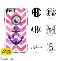 Custom Monogrammed Otterbox iPhone Phone Case Watercolor Chevron Anchor for iPhone 6s Plus, iPhone 6 Plus, iPhone 6s, iPhone 6, iPhone 5s, iPhone 5, and iPhone SE