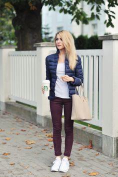 'down jacket + burgundy pants'