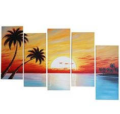 Hand Painted Canvas, Oil Painting On Canvas, Bedroom Decor, Sunset, Living Room, Handmade, Hand Made, Home Living Room, Dorms Decor