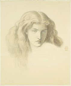 Head of a Young Woman - chalk drawing by Dante Gabriel Rossetti, 1874.