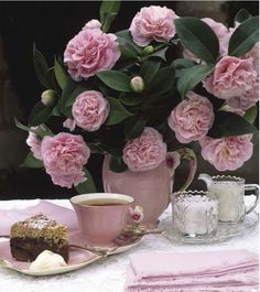 Southern Tea with beautiful pink Camillas