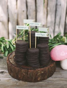 Love the wood stumps! Can order from Vanilla Story   Girl's camping birthday by Pippa and Co.   Megan Small Photography   100 Layer Cakelet