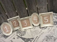 16 Vintage Style TABLE NUMBERS - Small Ornate Picture Frames - You Choose the Color - wedding reception sign via Etsy