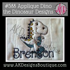 No 588 Dino the Dinosaur Applique Machine Embroidery Designs Adorable