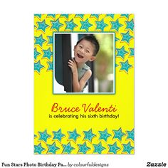 Shop Fun Stars Photo Birthday Party Invitation created by colourfuldesigns. Birthday Invitations Kids, Zazzle Invitations, Colourful Designs, Birthday Star, Diva Design, Party Photos, Best Part Of Me, Stars, Sterne