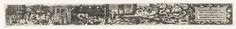 Anonymous | April, Anonymous, 1584 | Uit een serie van twaalf prenten, de verbeelding van de maand April. Links het snoeien en planten van bomen en een bijenkorf, in het midden boerderij met een vrouw aan het karnen en een stal waar een koe gemolken wordt, rechts het sterrenbeeld Stier en een cartouche met de tekst: Ich milck die Kue met gantzen Fleis, Pflantz die Beum mit Rum und Preis