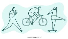 Set of characters doing stuff in an artistic outline style. A person walking with a plant, a person riding a bicycle and a person riding a skateboard. Powerpoint Free, Creative Powerpoint, Electronic Media, Shirt Maker, Layout Template, Create A Logo, Printed Materials, Layout Design, Outline