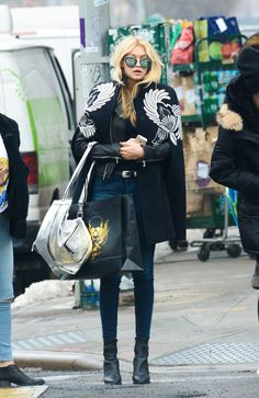 Staying warm but stylish in Winter is easy, as Gigi Hadid proved with her embellished outerwear.