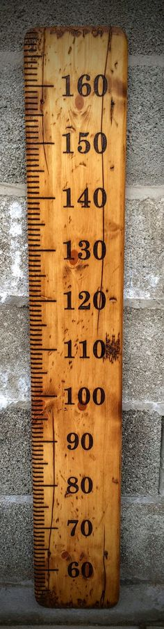 Large rustic wooden height chart wall ruler with centimeter (metric) scale - WITH personalisation, record your children's height