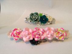 80mm barrettes with polymer flowers