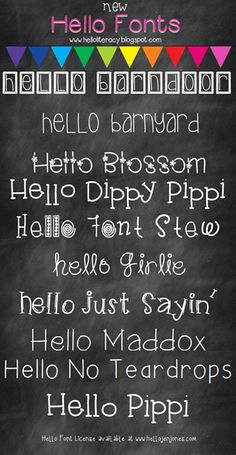10 New Hello fonts released 6-1-13 by Hello Literacy