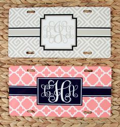 Gift Set Front License Plate + License Plate Frame Monogrammed Personalized Custom Gift Set Cute Car Accessories For Women License Plate by ChicMonogram on Etsy