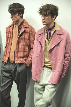 Crumpled pastel clothes backstage at Bottega Veneta AW15 Milan. See more here: www.dazeddigital....