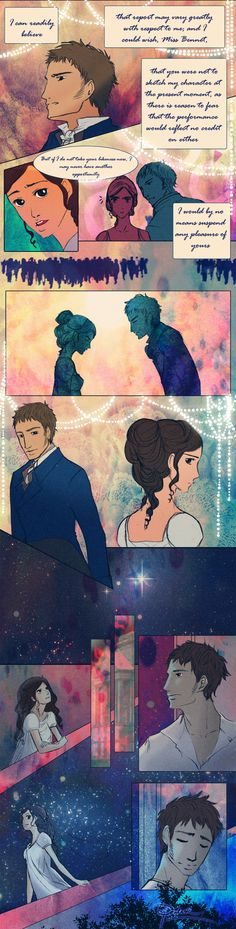 Netherfield ball scene page 6 by palnk.deviantart.com One of my pins someone suggested Benedict Cumberbatch would be the perfect Darcy, most accurate to the novel I don't know that that's true but we can speculate...