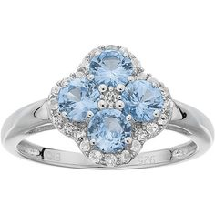 Sterling Silver Blue & White Topaz Flower Ring ($375) ❤ liked on Polyvore featuring jewelry, rings, blue, blue ring, flower ring, floral ring, sterling silver jewellery and floral jewelry