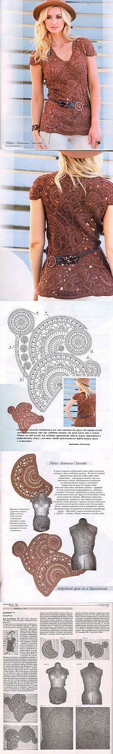 Туничка в технике фриформ. Журнал Мод Вязание № 585