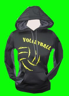 Make a statementwith this volleyball,black, performance fleece lined hoodie. Made of8-ounce, 100% polyester.This hoodie is a ladies cut and runs small. Gent
