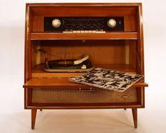 ... Radio Record Player, Record Players, Ebay Watches, Audio System, Liquor Cabinet, 1950s, Mid Century, Retro, Storage