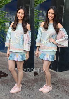 A cute short skirt and beautiful hair make Shraddha Kapoor look so cute that we think our hearts might melt...!! via Voompla.com