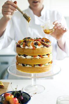 griddled stone fruits, honey + thyme cake • wild flour bakery • feast