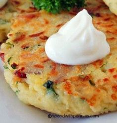 Loaded Mashed Potato Cakes ~ This is a great way to use up leftover mashed potatoes or you can make them fresh if you don't have any! Get creative with the seasoning and add ins...