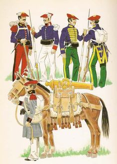 Fig. Nº1 - ARTILLERO IN UNIFORM OF GALA IN WINTER.  Fig Nº2 - ZAPADOR OF THE BODY OF ENGINEERS.  Fig. Nº3 and 4 - MARINE COMPANIES.  Fig. Nº5 - MOUNTAIN ARTILLERIA Fernando Vii, Army History, Chocolate Box, Warfare, Marines, 19th Century, Spanish, Empire, Winter