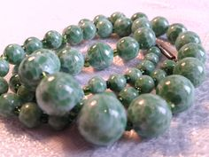 """Vintage Peking Glass Bead Necklace, 30s, """"Faux"""" Jade. by GothiqueGirl on Etsy"""
