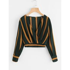 Shop V Neckline Striped Surplice Crop Top online. SheIn offers V Neckline Striped Surplice Crop Top & more to fit your fashionable needs. Teen Fashion Outfits, Trendy Outfits, Girl Fashion, Cute Outfits, Fashion Women, Dress Fashion, Fashion Styles, Style Fashion, Trendy Fashion