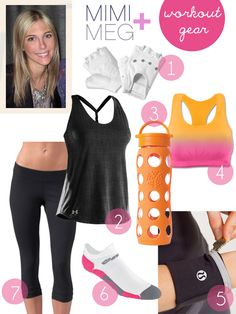 Workout gear that's cute AND functional. Love the cycling gloves, sports bra and running reflective cuffs.