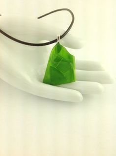 Green Fused Glass Abstract Pendant on A  Leather Cord Necklace      Hand Crafted Jewelry