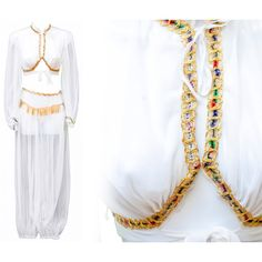 1950s Pant Top Costume Lingerie Set Harem Parachute Moroccan Belly... ($155) ❤ liked on Polyvore featuring costumes, angel costume, lady halloween costumes, vintage halloween costumes, belly dancer costume and womens genie costume