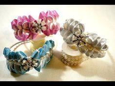 Праздничный ободок/How to Make Beautiful Headband Kanzashi/Tutorial/D. Kanzashi Tutorial, Crochet Baby Hat Patterns, Crochet Baby Hats, Ribbon Sculpture, Fabric Bows, All Craft, Ribbon Crafts, Girls Bows, Felt Flowers