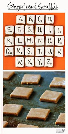 """Gingerbread Scrabble"" from gimmesomeoven.com -- Seems to be a ""gingerbread games"" kind of day; see gingerbread dominoes here: http://www.pinterest.com/pin/175218241726451130/"