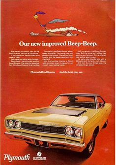 The second wave ad: 1968 Plymouth Road Runner advertisement