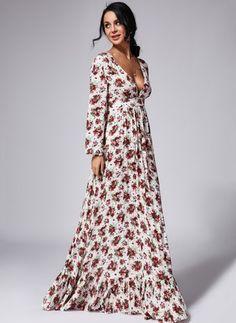 Modal Floral Long Sleeve Maxi Casual Dresses (1035653) @ floryday.com