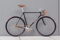 Fixed Gear Bike. Black frame. Yellow chain.  SleepStreet Bicycles