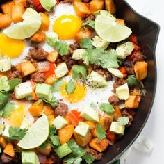 Chorizo Breakfast Hash with Sriracha Honey Lime Sour Cream from @spoonfulflavor!