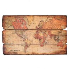world map on wood... so pretty