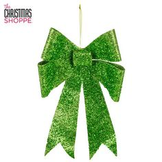 Large Lime Green Glitter Bow Ornament