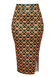 Hasana Stretch African Print Pencil Midi Skirt (yellow/black Kente)- Clearance Africanstylesforladies - African Styles for Ladies African Fashion Designers, Latest African Fashion Dresses, African Print Fashion, Africa Fashion, African Outfits, African Pencil Skirt, African Print Skirt, African Print Clothing, Grace Karin