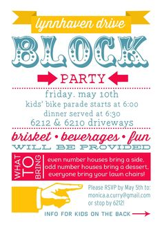 National Night Out Block Party Invite Pinterest Carnival parties