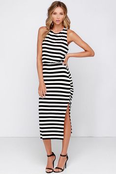 black and white striped dress with side slit