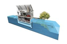 An amphibious, floating house - A daring proposal for a floating, or amphibious, house from Baca Architects, a firm that's recognized for innovation in flood-resilient and adaptable architecture and spatial planning.