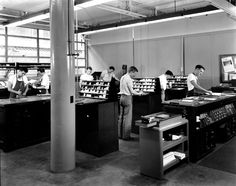 School of Printing – unidentified students.  Clark Building, Downtown campus