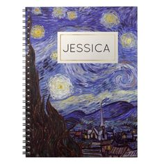Organize your day with a custom fine art notebook! Featuring Van Gogh's Starry Night painting on the front cover, this notebook is a great way to show off your personal style and keep track of all important notes and appointments all at once. Customize this notebook with your name inside the golden frame.