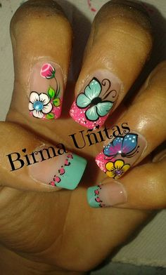 Cute for kidz Fingernail Designs, Toe Nail Designs, Nail Polish Designs, Cute Nail Art, Cute Nails, Pretty Nails, Fancy Nails, Diy Nails, Butterfly Nail Art